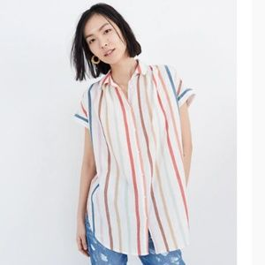 Madewell   Gauze Central Tunic Shirt Striped
